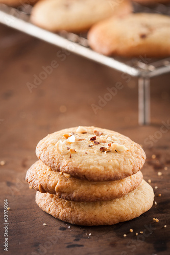 Pile of homemade almond cookies