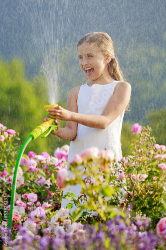 Summer garden,  girl watering roses with garden hose