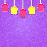 Simple Stylized Colorful Tulipa on Purple Swirl Background
