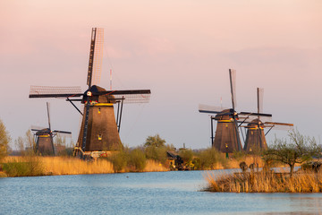 Windmills near Kinderdijk at sunset, South Holland, Netherlands