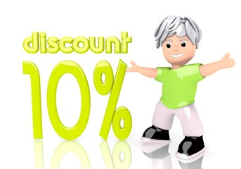 3d graphic of a funny discount sign  with cute 3d character