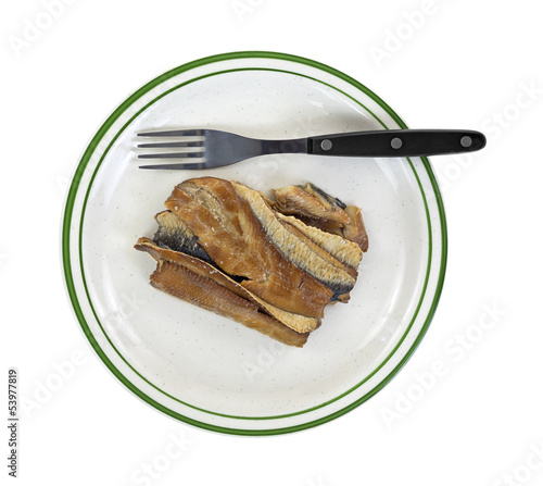 Herring fillets on plate with fork