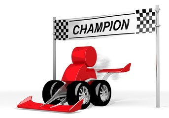 Illustration of a fast man sign  on a race car champion