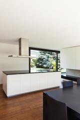 Modern villa, interior, beautiful white kitchen