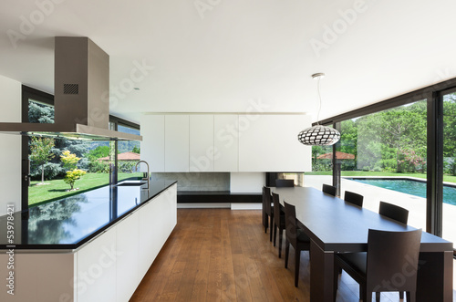 interior, beautiful dining room with kitchen island
