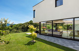 Modern villa, outdoor, view from the garden