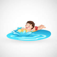 boy and a swimming pool vector
