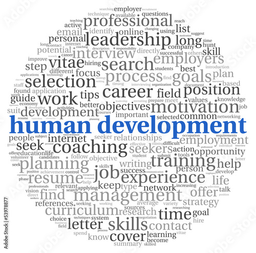 Human development concept in tag cloud