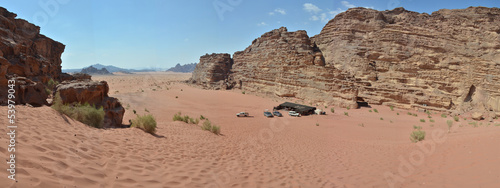 Panoramic view of the Wadi Rum desert - Jordan