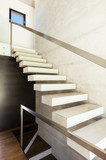 Modern villa, interior, view concrete staircase