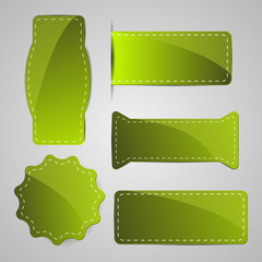 abstract green vector tags signs badges with dashed line around