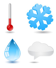 thermometer, snowflake; drop; and clowd - weather icon
