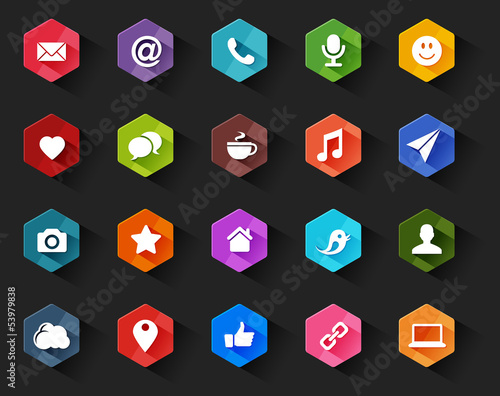 Flat Social Media Icons for Dark Background