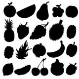Set black silhouette various fruits on a white background