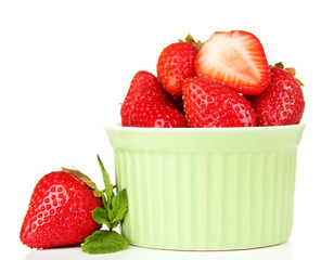 Ripe sweet strawberries in bowl, isolated on white