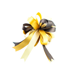 single gift bow, golden satin