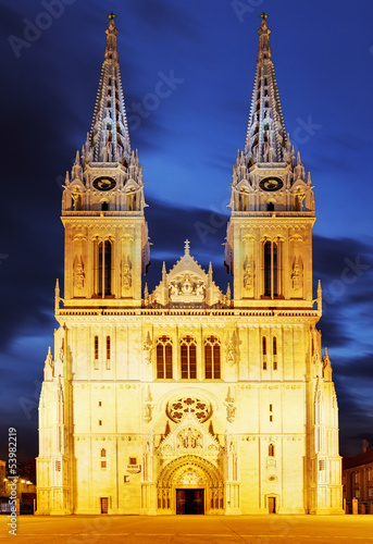 Zagreb cathedral at night