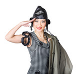 Vintage female pin-up fighter pilot saluting yes