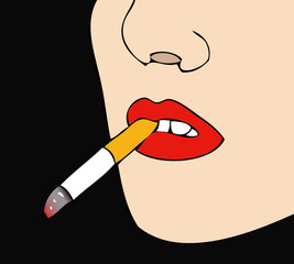 Woman with cigarette in mouth (black background)
