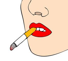 Donna con sigaretta in bocca