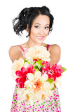 Woman with flower arrangement. Valentine's day gift