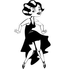 laughing cute cartoon flapper girl in Art Deco dress