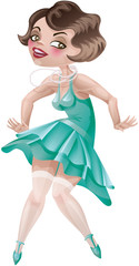 laughing cute cartoon flapper girl in Art Deco dress