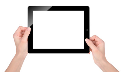 Holding Blank Tablet Screen on White