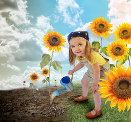 Little Sunflower Gardener Girl in Nature