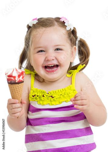 happy kid girl eating ice-cream in studio isolated