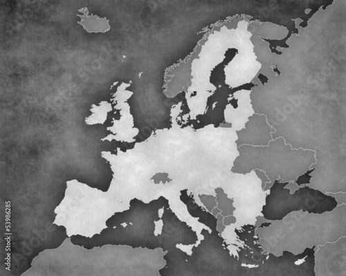 Map of Europe - European Union (b&w)