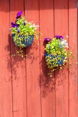 Blumenschmuck an rotem Holzhaus in Schweden