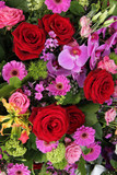 pink and red floral arrangement