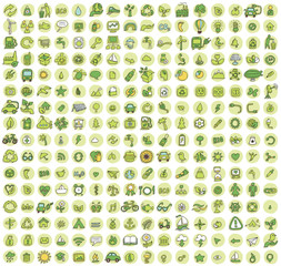 Collection of 256 ecology doodled icons