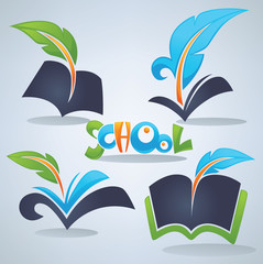 back to school, vector collection of books, parchment, reading a