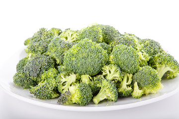 Broccoli Florets on a White Plate