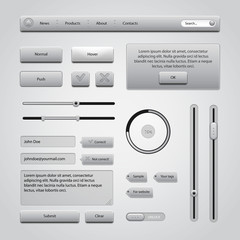 Light Gray UI Controls Web Elements 2