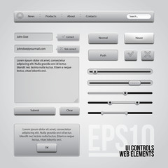 Light Gray UI Controls Web Elements