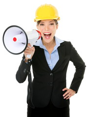 Young Businesswoman Shouting Into Megaphone