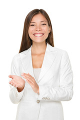 Happy Young Businesswoman Clapping Hands