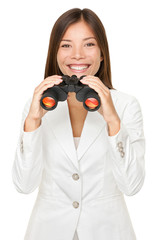 Young Businesswoman Holding Binoculars