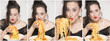Secuencia de mujer comiendo pasta con las manos