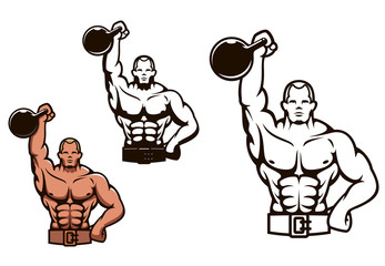 Bodybuilder man with dumbbell