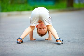 rear view of funny little boy kid