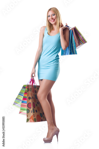 Tall girl after good shopping on white