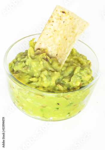 Guacamole and a Tortilla Chip