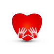 Hands together with a heart logo vector