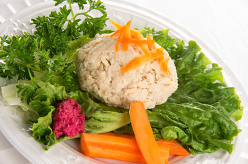 Traditional Jewish passover food gefilte fish