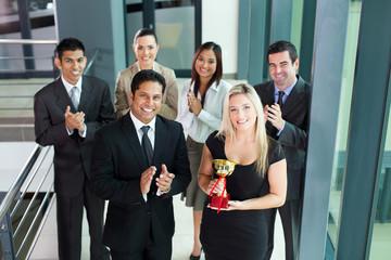 business team winning an award