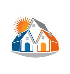 Real estate houses and sun logo vector